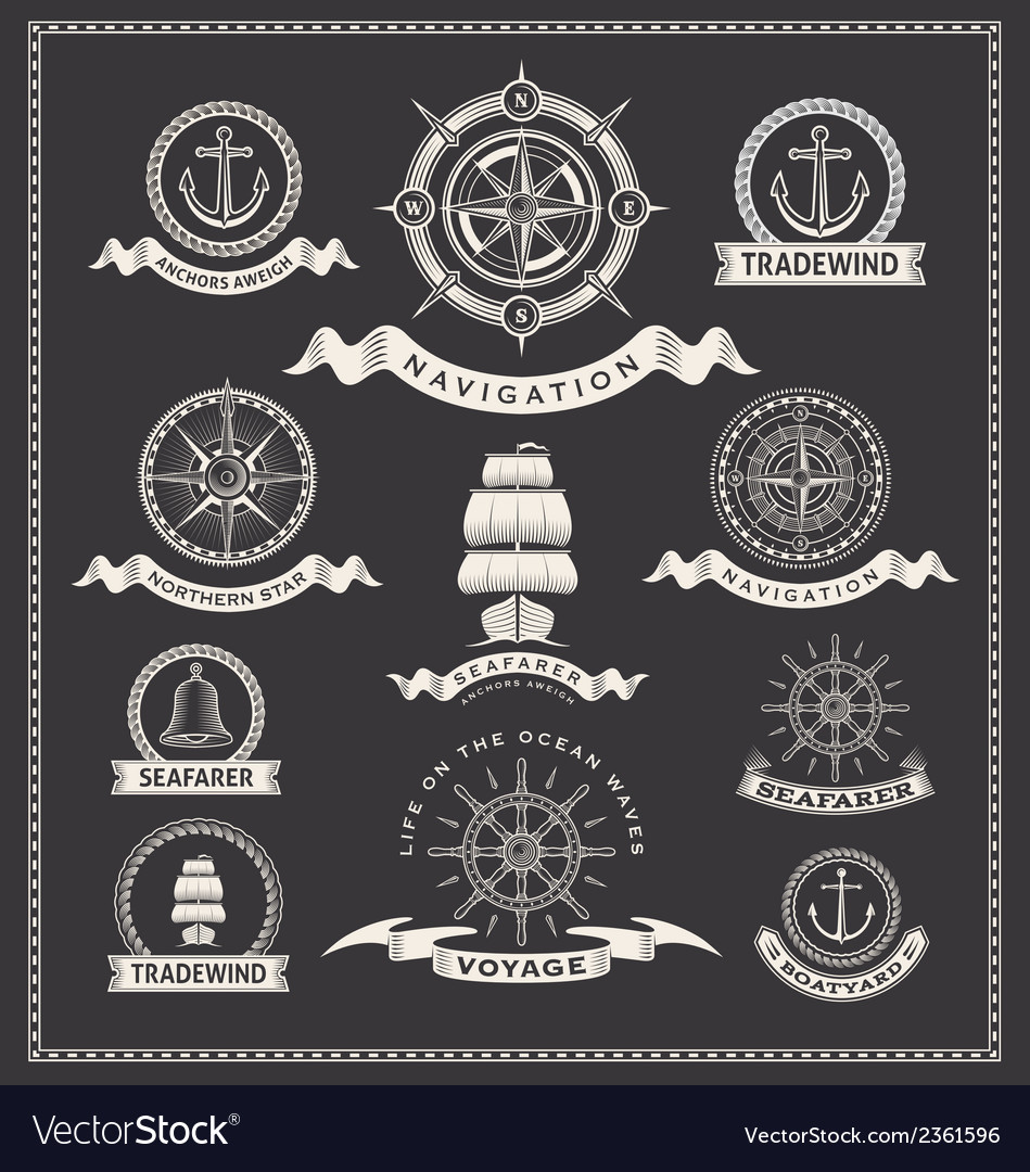 Nautical design elements vector | Price: 1 Credit (USD $1)