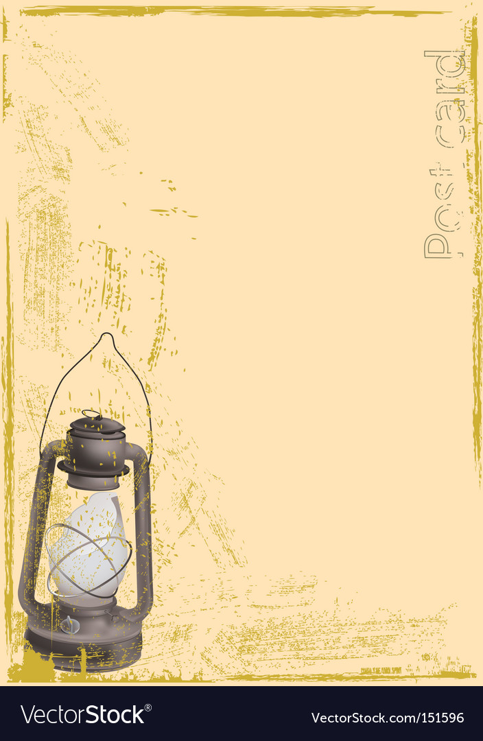 Old postcard with oil lamp vector | Price: 1 Credit (USD $1)