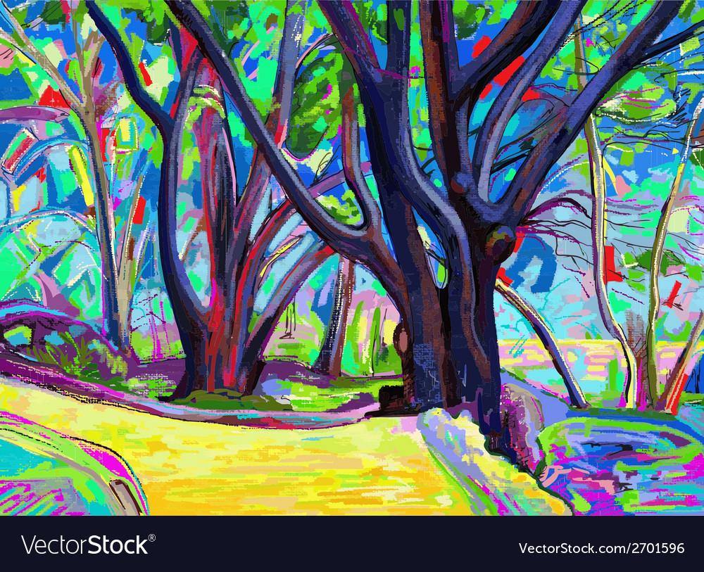 Original digital painting of spring landscape vector | Price: 1 Credit (USD $1)