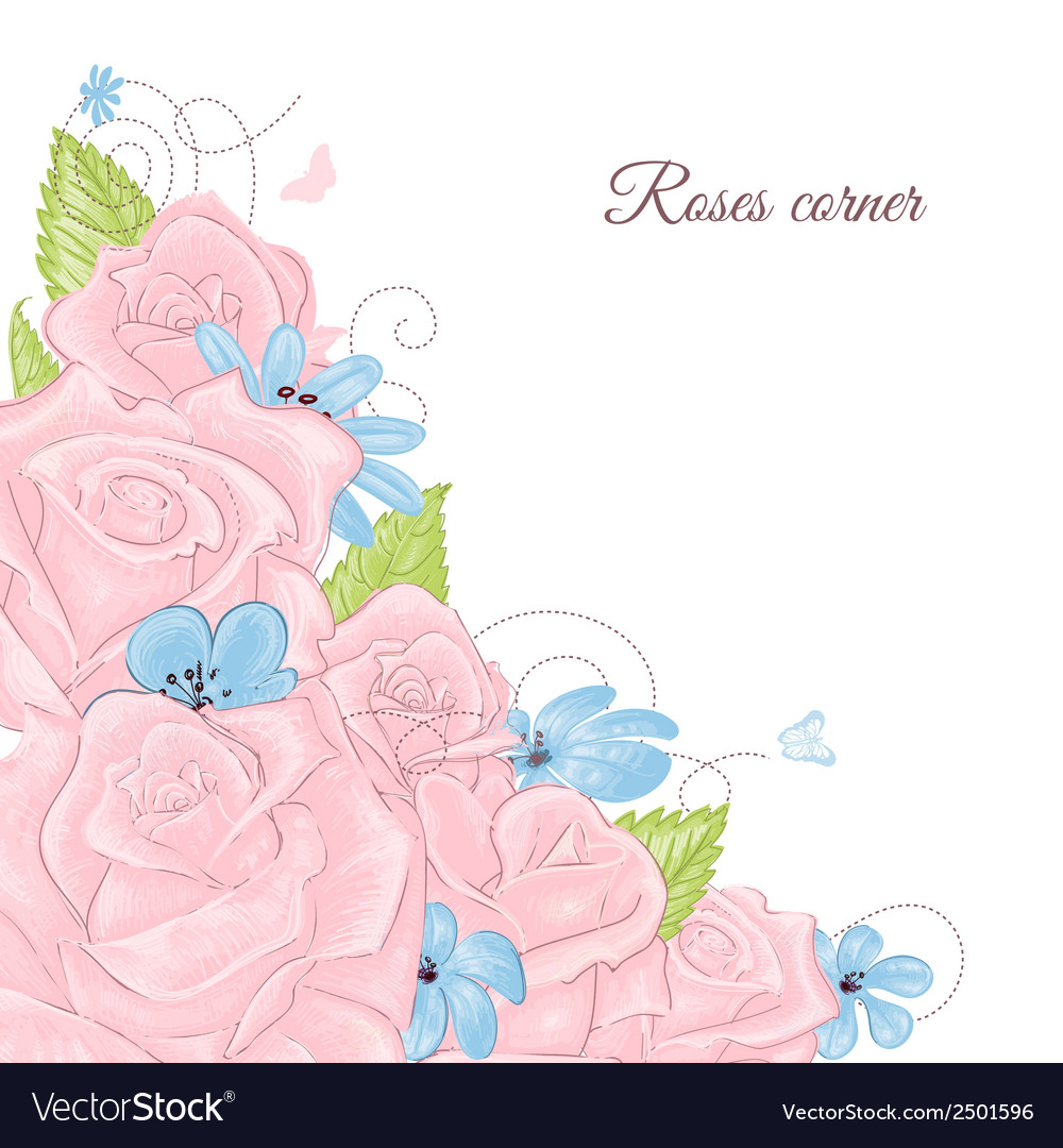 Pink roses bouquet corner decoration over white vector | Price: 1 Credit (USD $1)