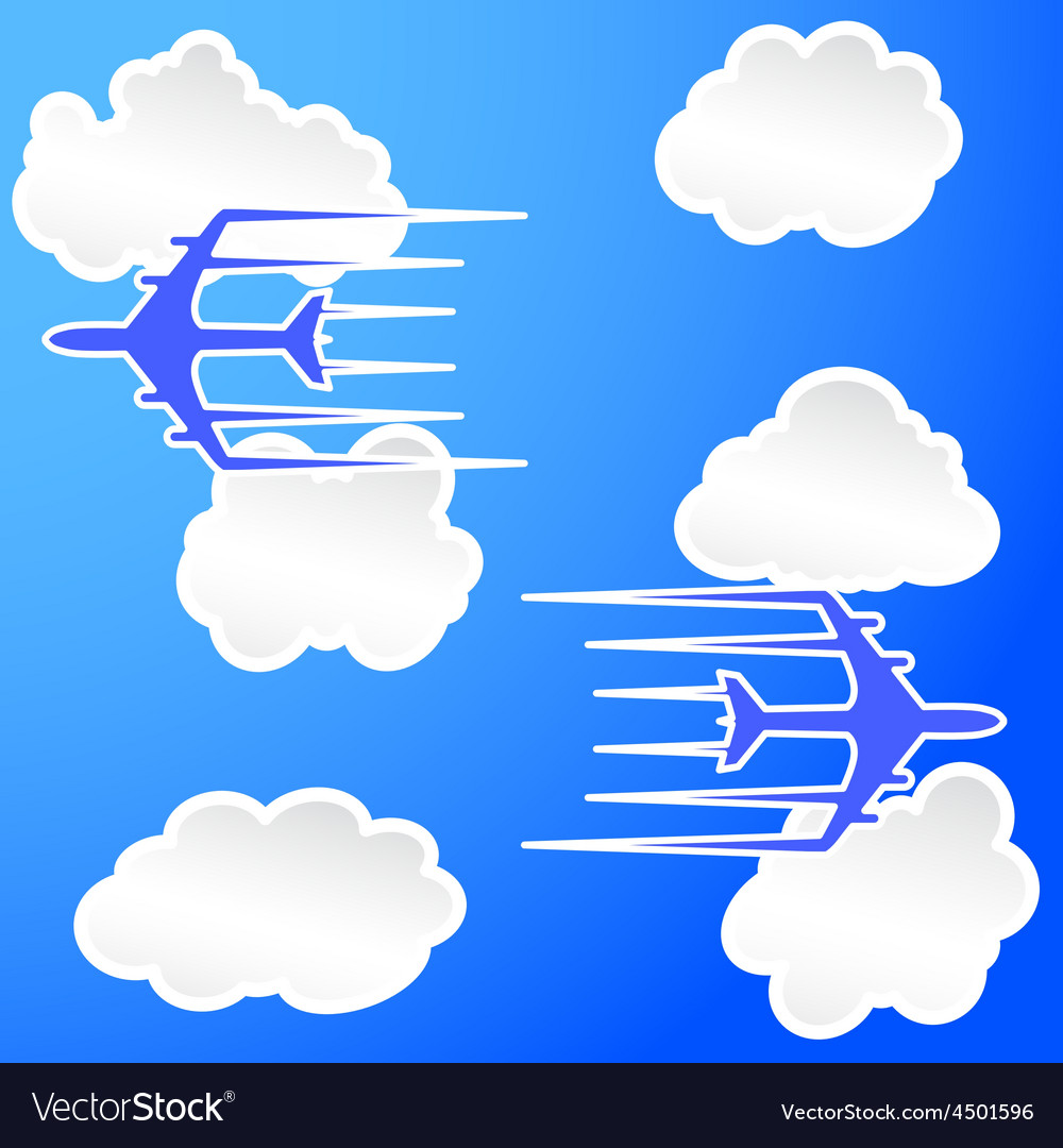 Planes trail in the cloudy sky vector | Price: 1 Credit (USD $1)