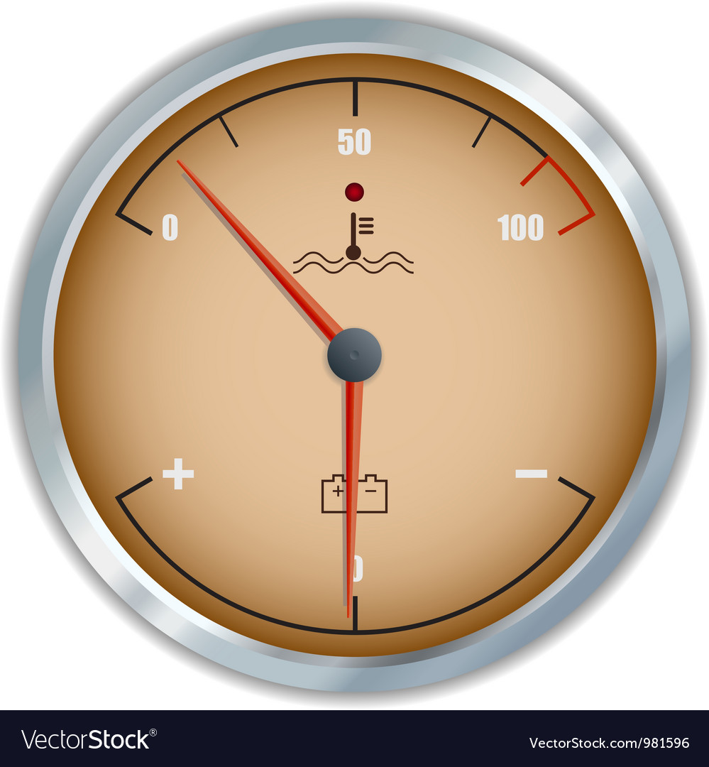 Retro motor temperature and voltage gauge icon vector | Price: 1 Credit (USD $1)