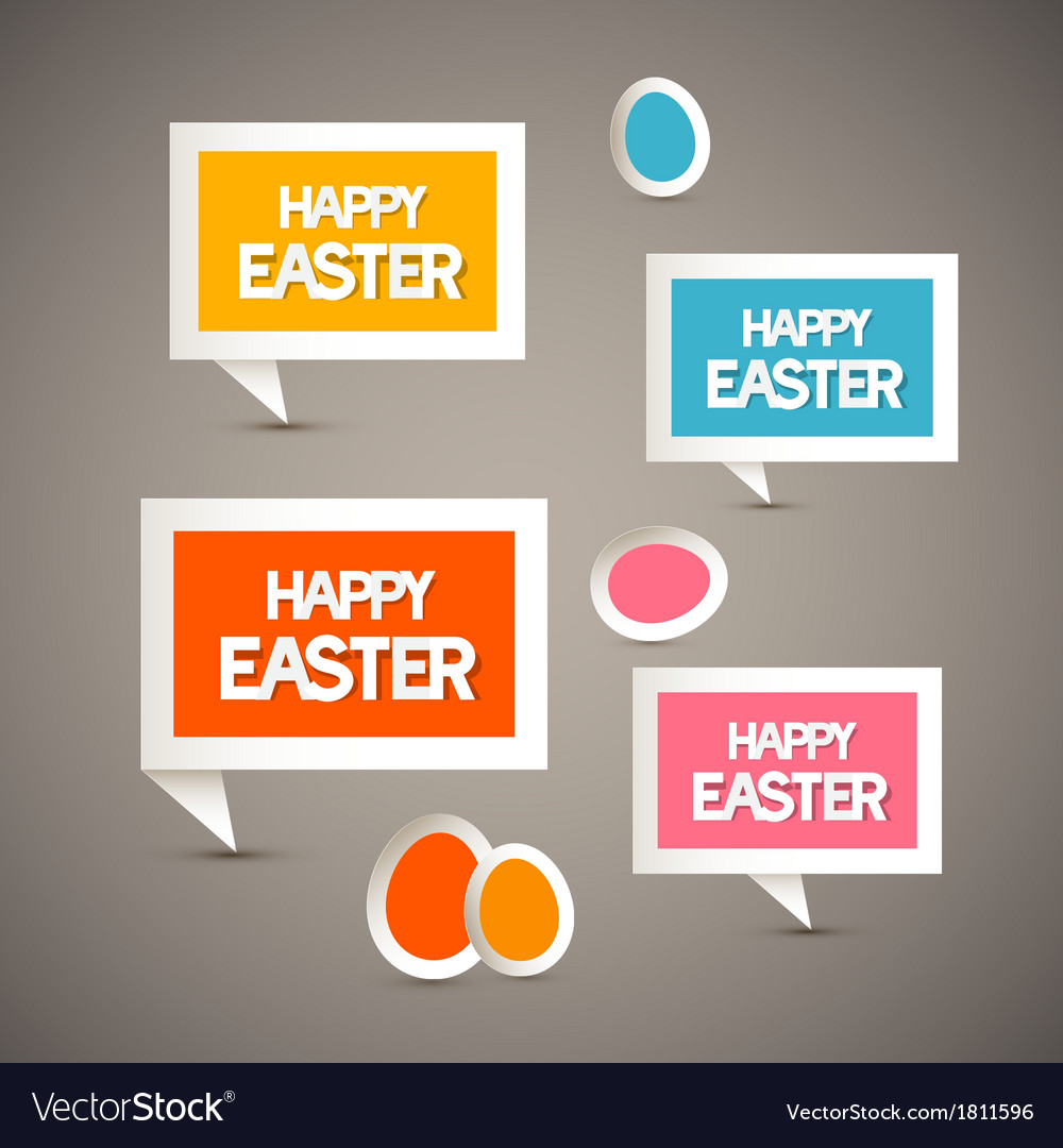Retro paper tags with happy easter title and eggs vector | Price: 1 Credit (USD $1)