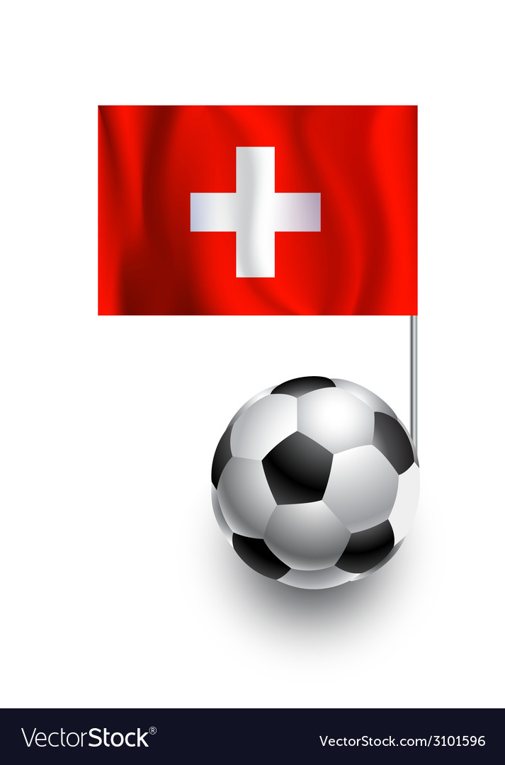 Soccer balls or footballs with flag of switzerland vector | Price: 1 Credit (USD $1)