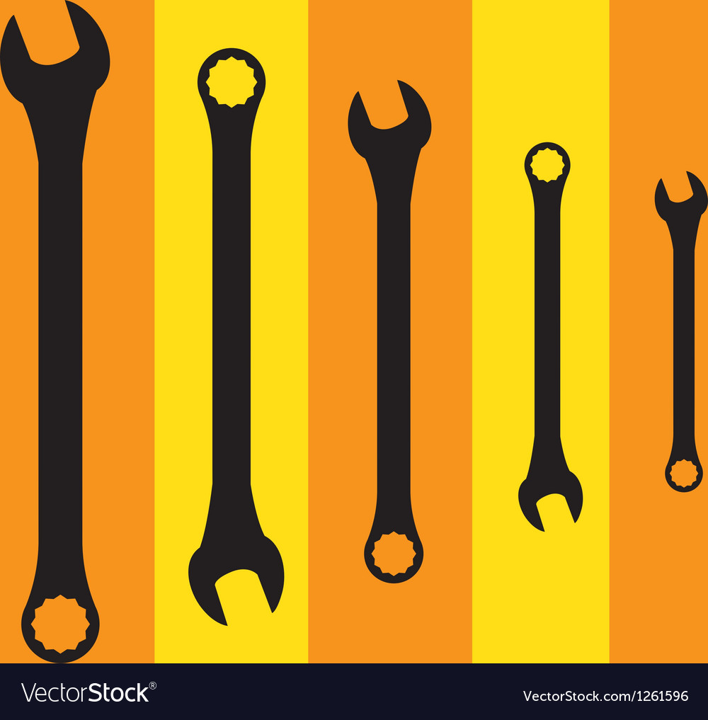 Stainless steel spanners silhouette vector | Price: 1 Credit (USD $1)
