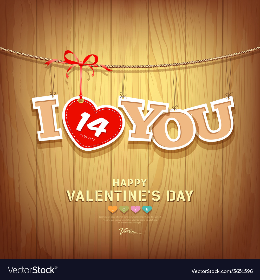 Valentines with text i love you and red ribbons vector | Price: 1 Credit (USD $1)