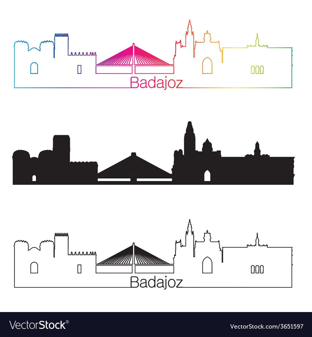 Badajoz skyline linear style with rainbow vector   Price: 1 Credit (USD $1)