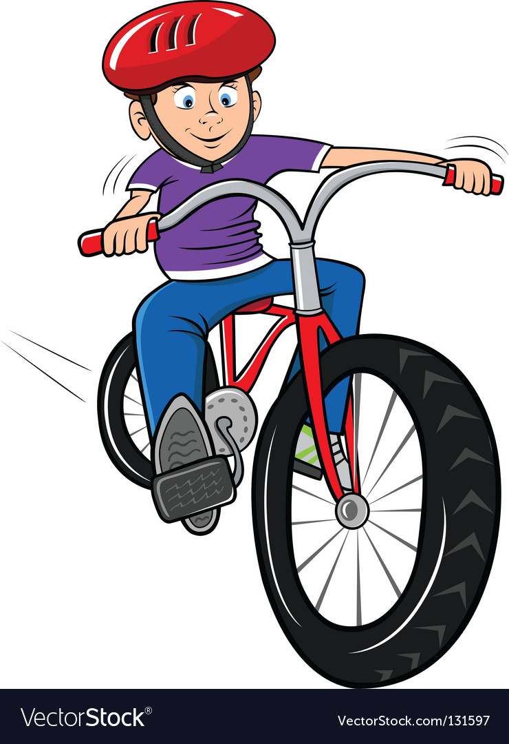 Boy on bike vector | Price: 1 Credit (USD $1)