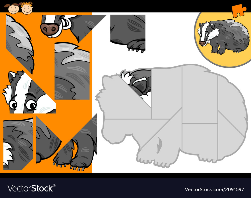 Cartoon badger jigsaw puzzle game vector | Price: 1 Credit (USD $1)
