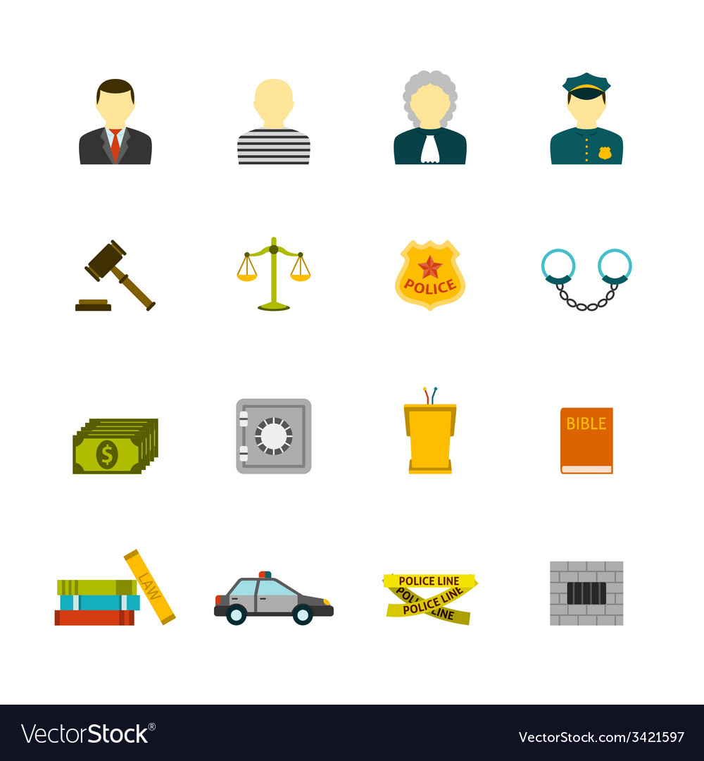 Crime and punishments icons set vector | Price: 1 Credit (USD $1)