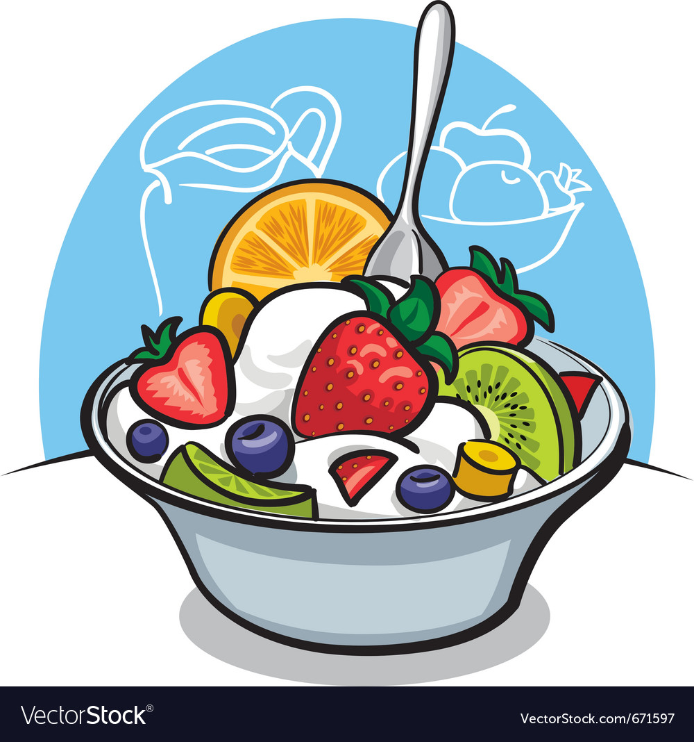 Fruit salad with yogurt and strawberry vector | Price: 3 Credit (USD $3)
