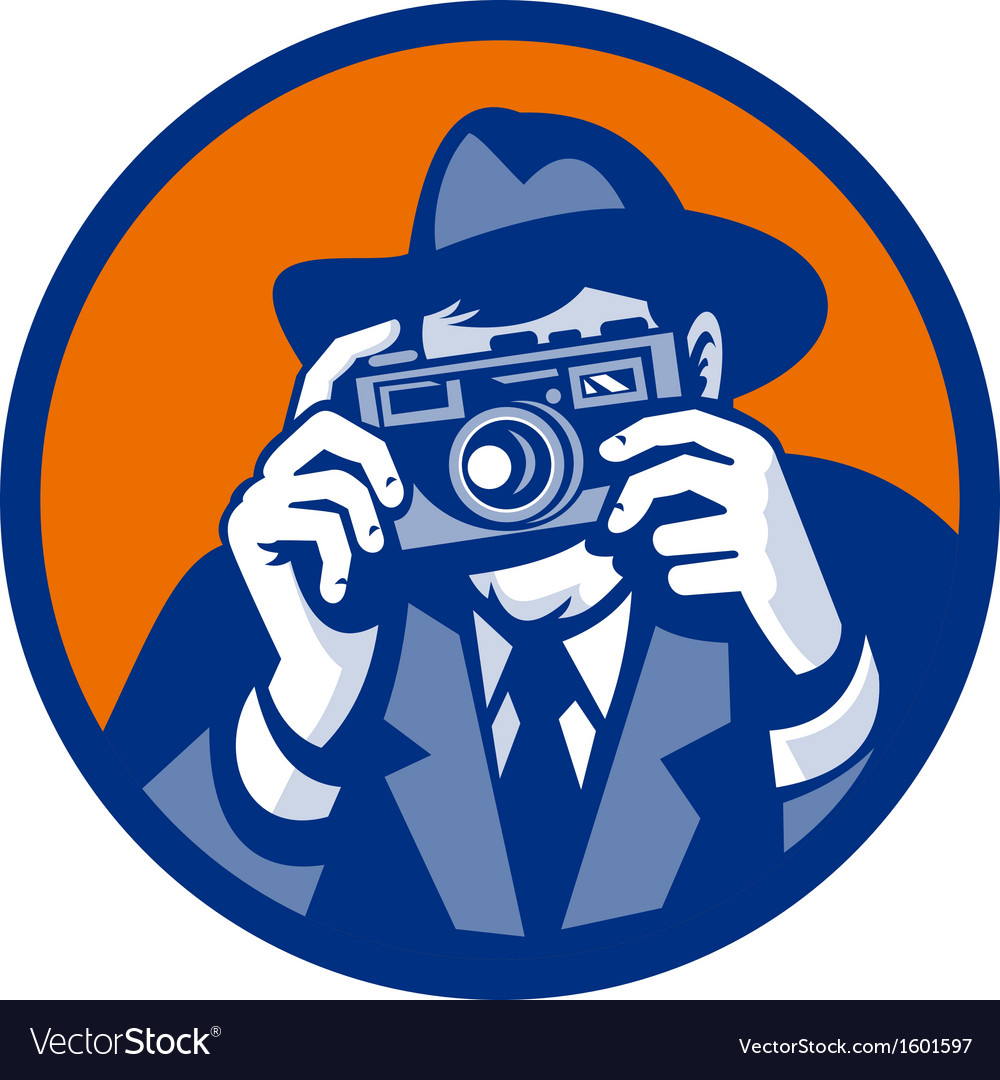 Photographer with fedora hat aiming retro slr vector | Price: 1 Credit (USD $1)