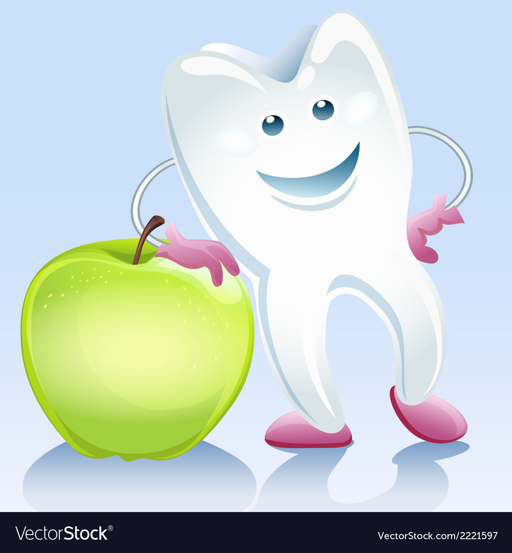 Tooth and apple vector | Price: 1 Credit (USD $1)