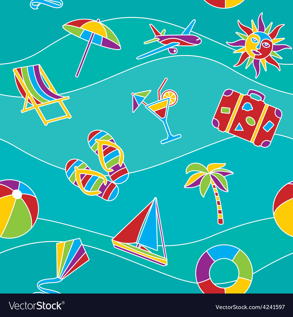 Vacation seamless pattern vector   Price: 1 Credit (USD $1)
