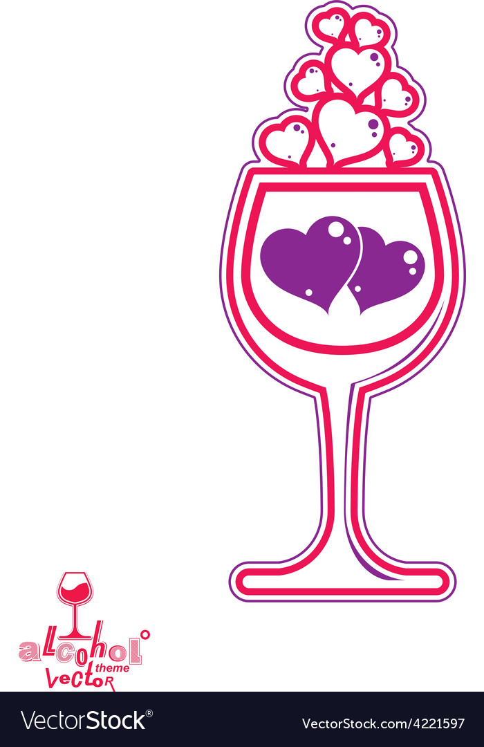 Wineglass with two purple hearts vector | Price: 1 Credit (USD $1)