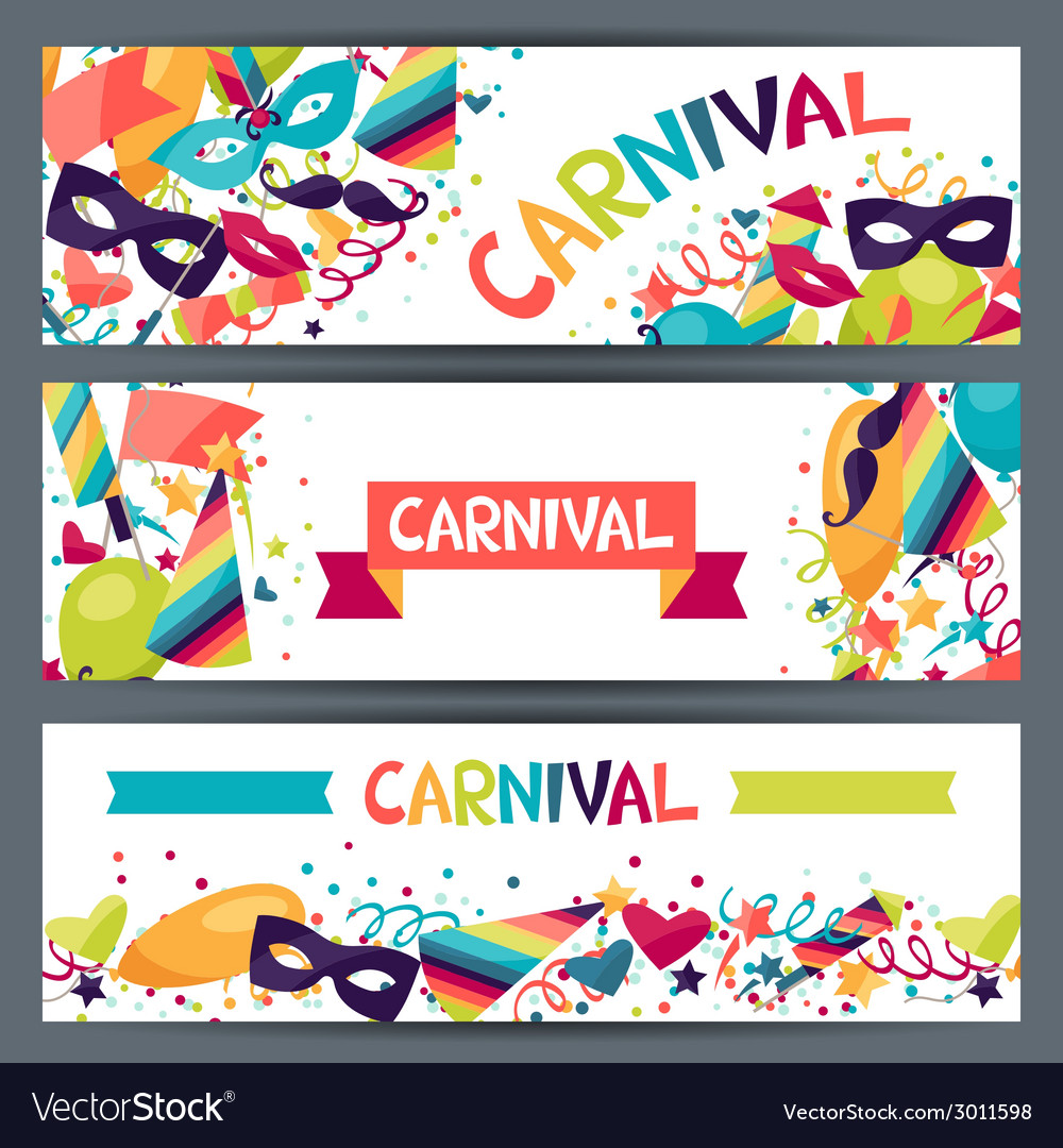 Celebration horizontal banners with carnival icons vector | Price: 1 Credit (USD $1)