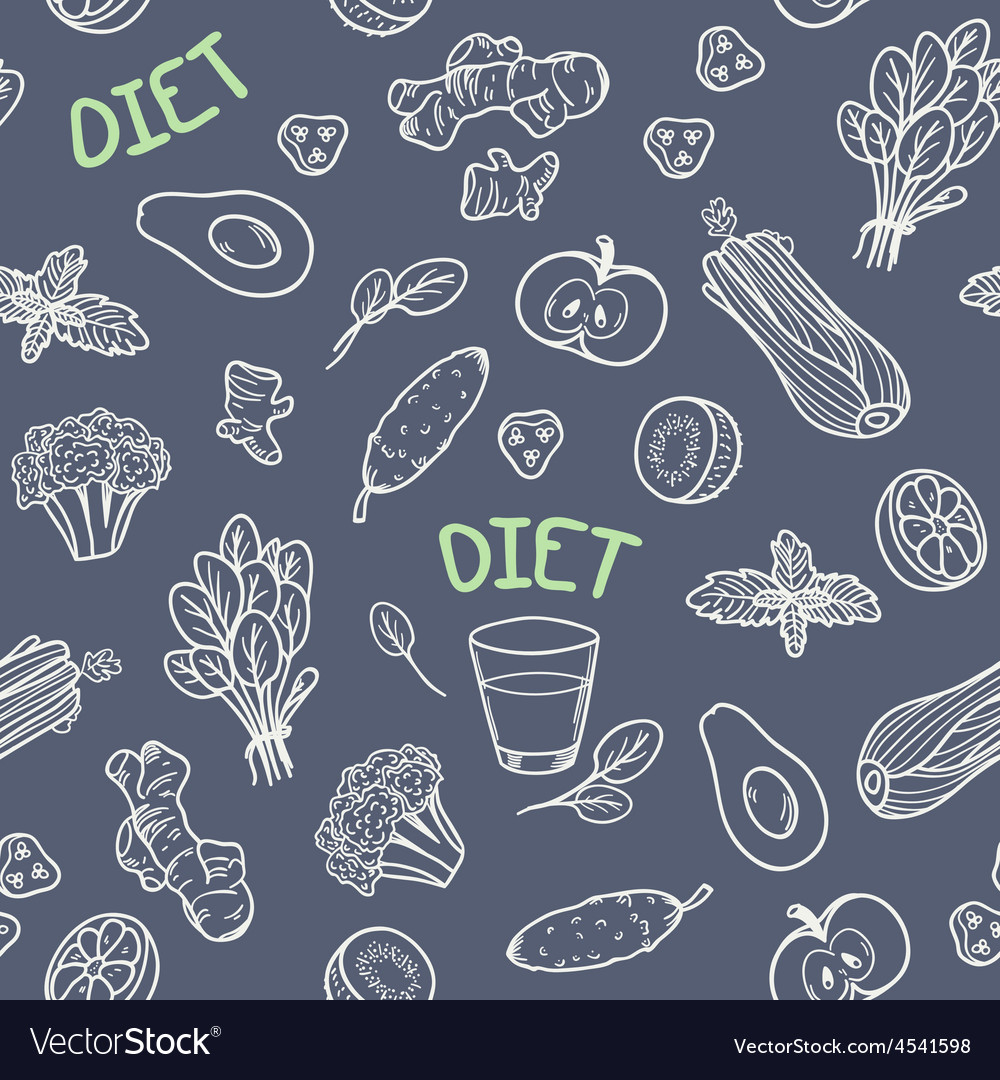 Chalk style vegetables seamless pattern vector | Price: 1 Credit (USD $1)