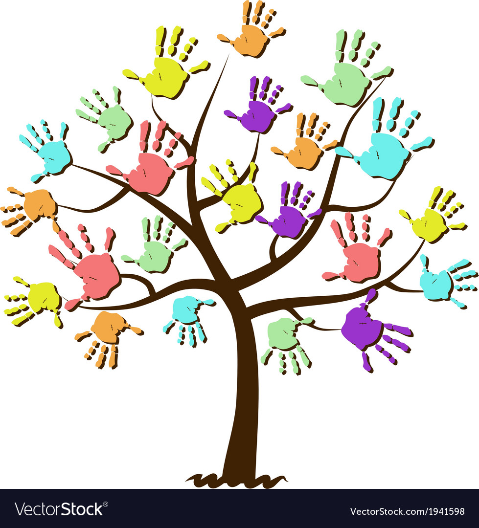 Childrens hand prints united in tree vector | Price: 1 Credit (USD $1)