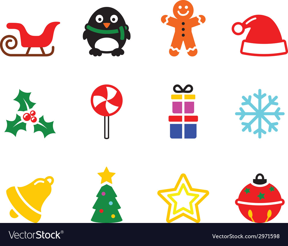 Colorful christmas icons set vector | Price: 1 Credit (USD $1)