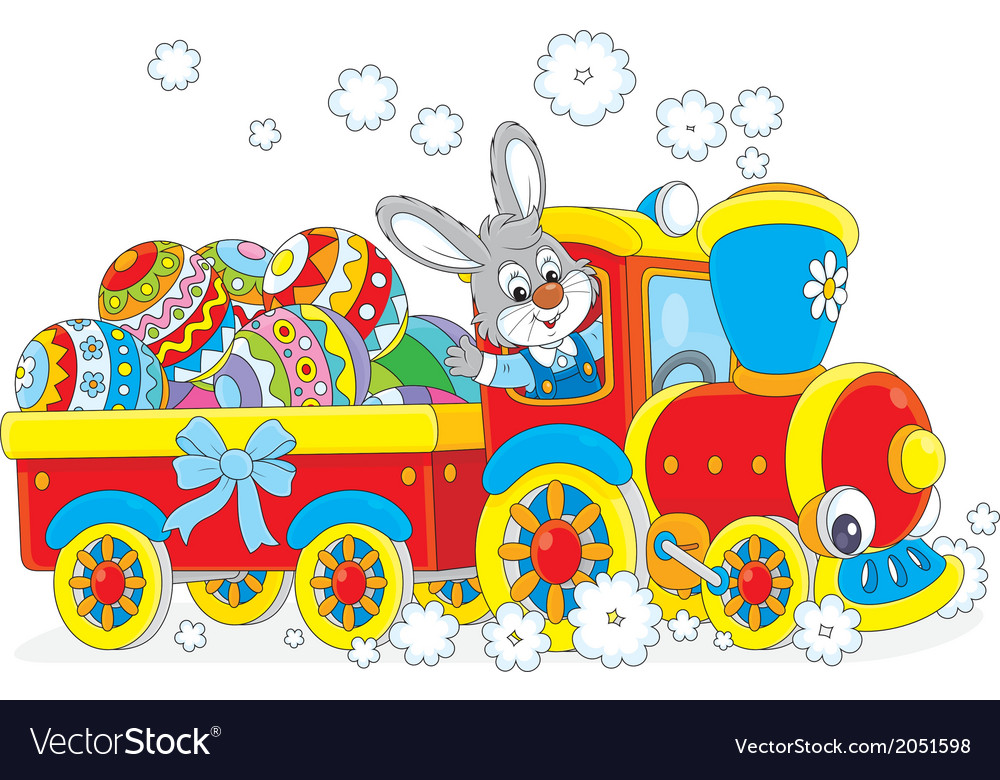 Easter bunny on a train vector | Price: 1 Credit (USD $1)
