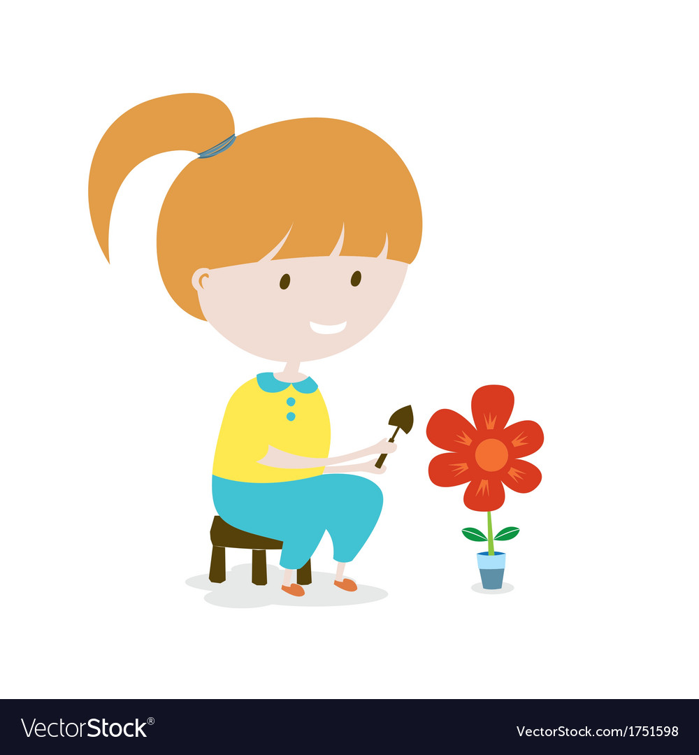 Girl grows the flower eps10 vector | Price: 1 Credit (USD $1)