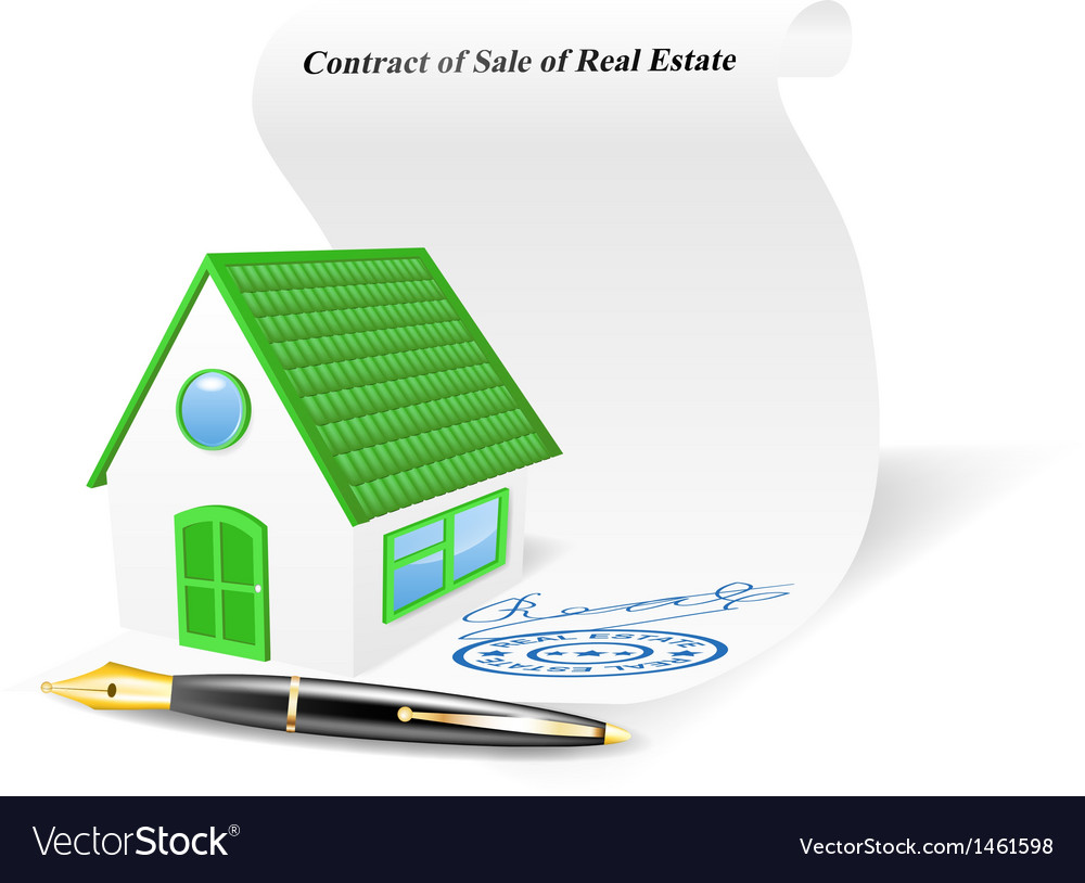 House with contract of sale of real estate vector | Price: 1 Credit (USD $1)