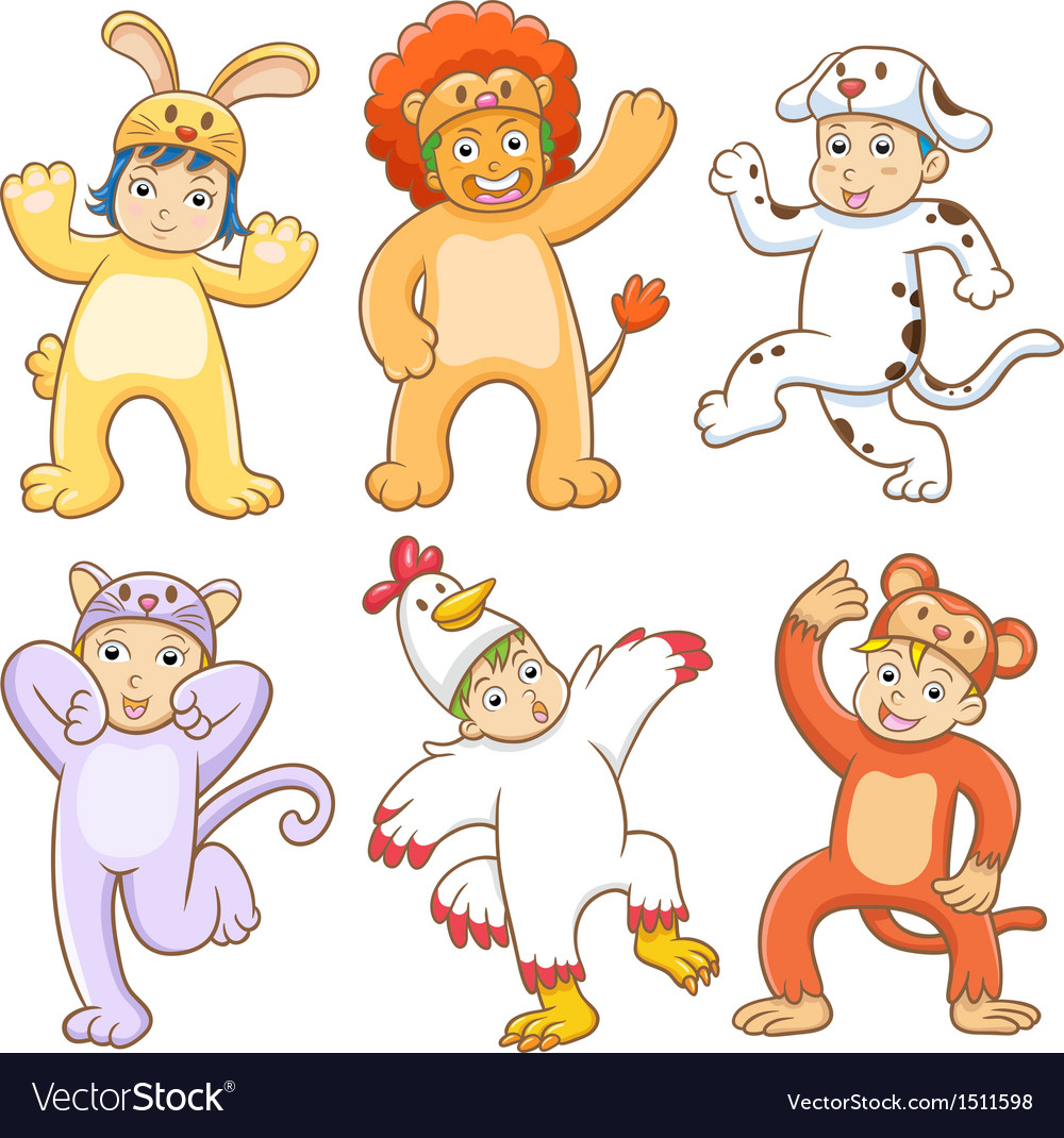 Kid with animals costume vector | Price: 5 Credit (USD $5)