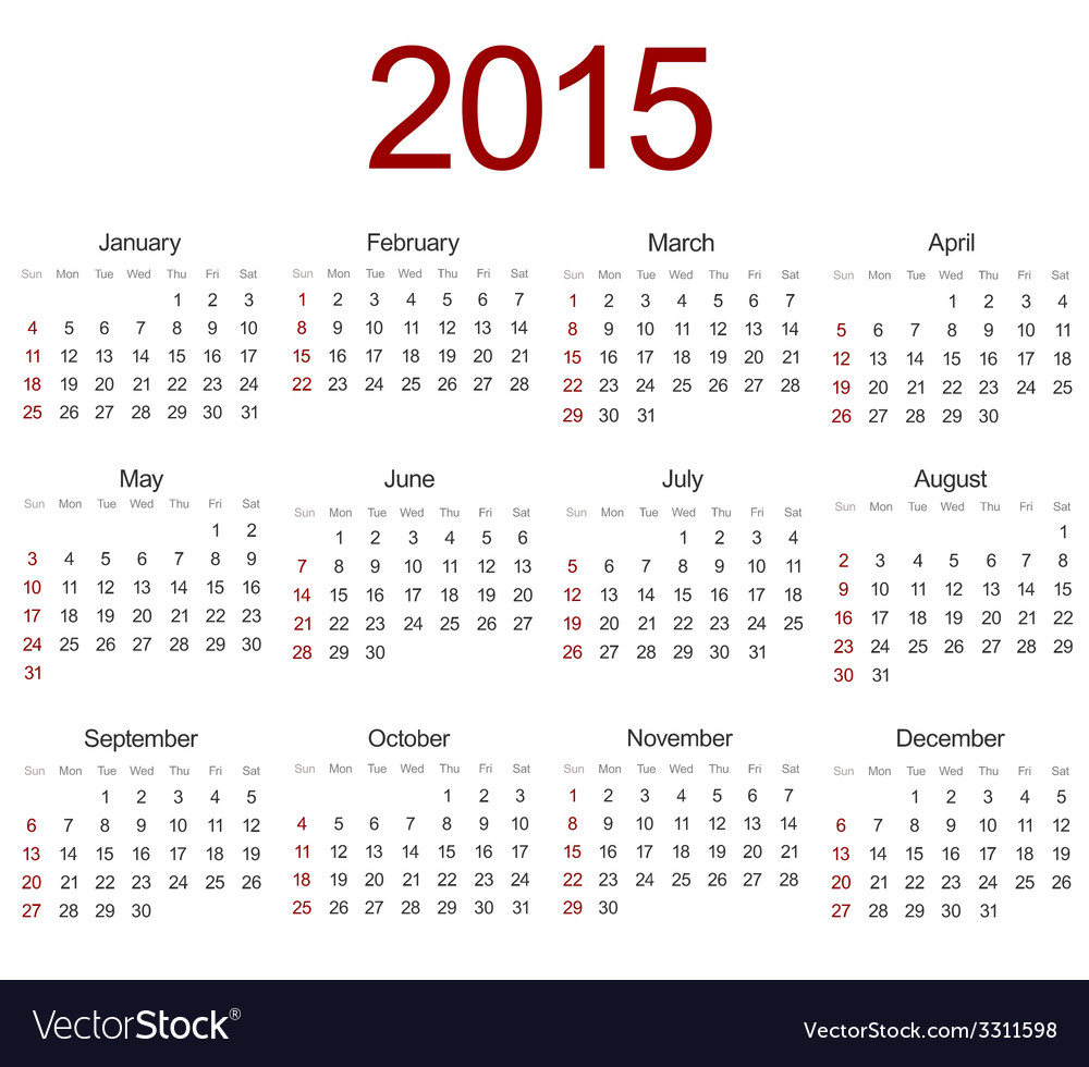 Modern 2015 calendar on white vector | Price: 1 Credit (USD $1)