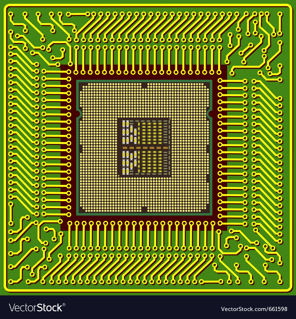 Modern computer processor chip vector | Price: 1 Credit (USD $1)