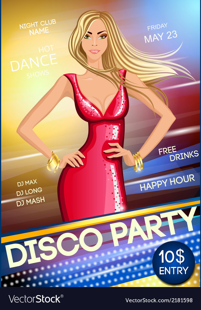 Night club party poster vector | Price: 1 Credit (USD $1)