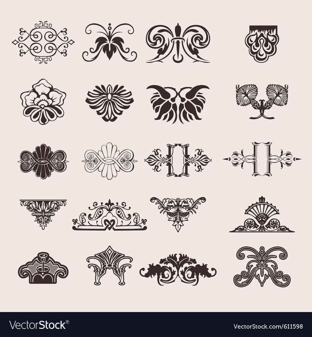 Ornate design elements vector | Price: 1 Credit (USD $1)