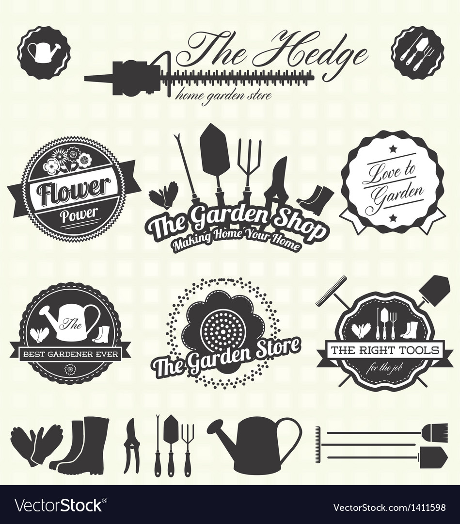 Retro gardening labels and icons vector | Price: 3 Credit (USD $3)