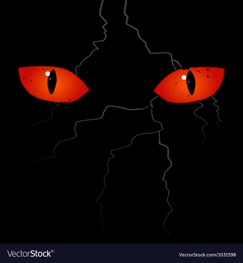 Scary eyes on the black background vector | Price: 1 Credit (USD $1)