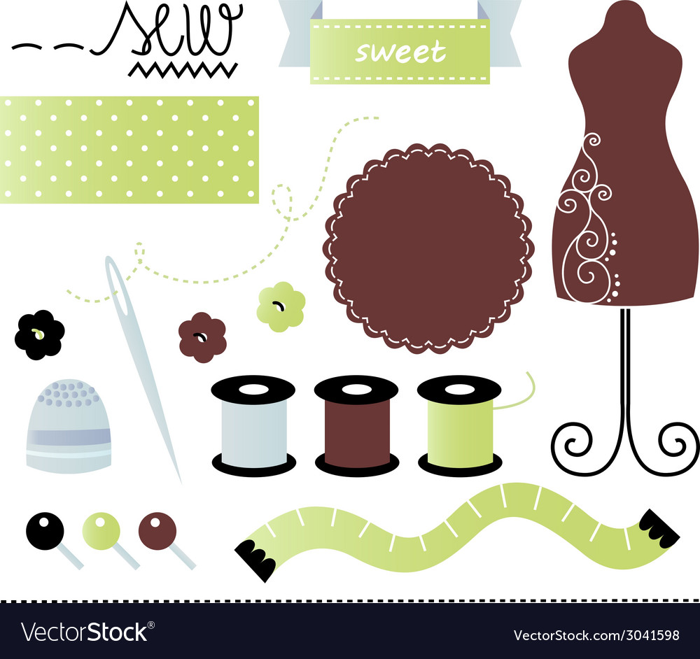 Sewing and tailor set isolated on white vector | Price: 1 Credit (USD $1)