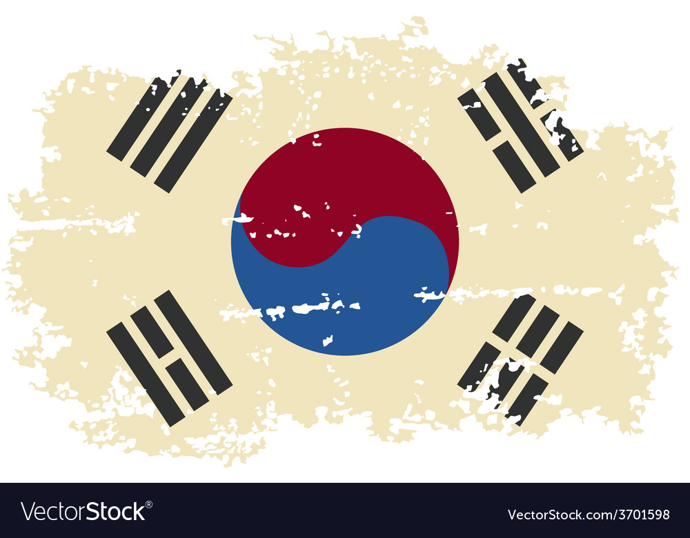 South korea grunge flag vector | Price: 1 Credit (USD $1)
