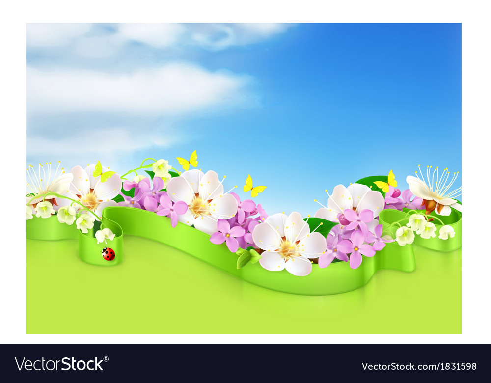 Spring flowers and clouds background vector | Price: 1 Credit (USD $1)