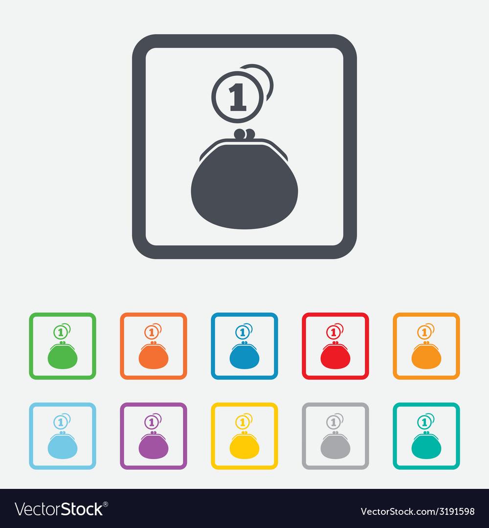 Wallet sign icon cash coins bag symbol vector | Price: 1 Credit (USD $1)