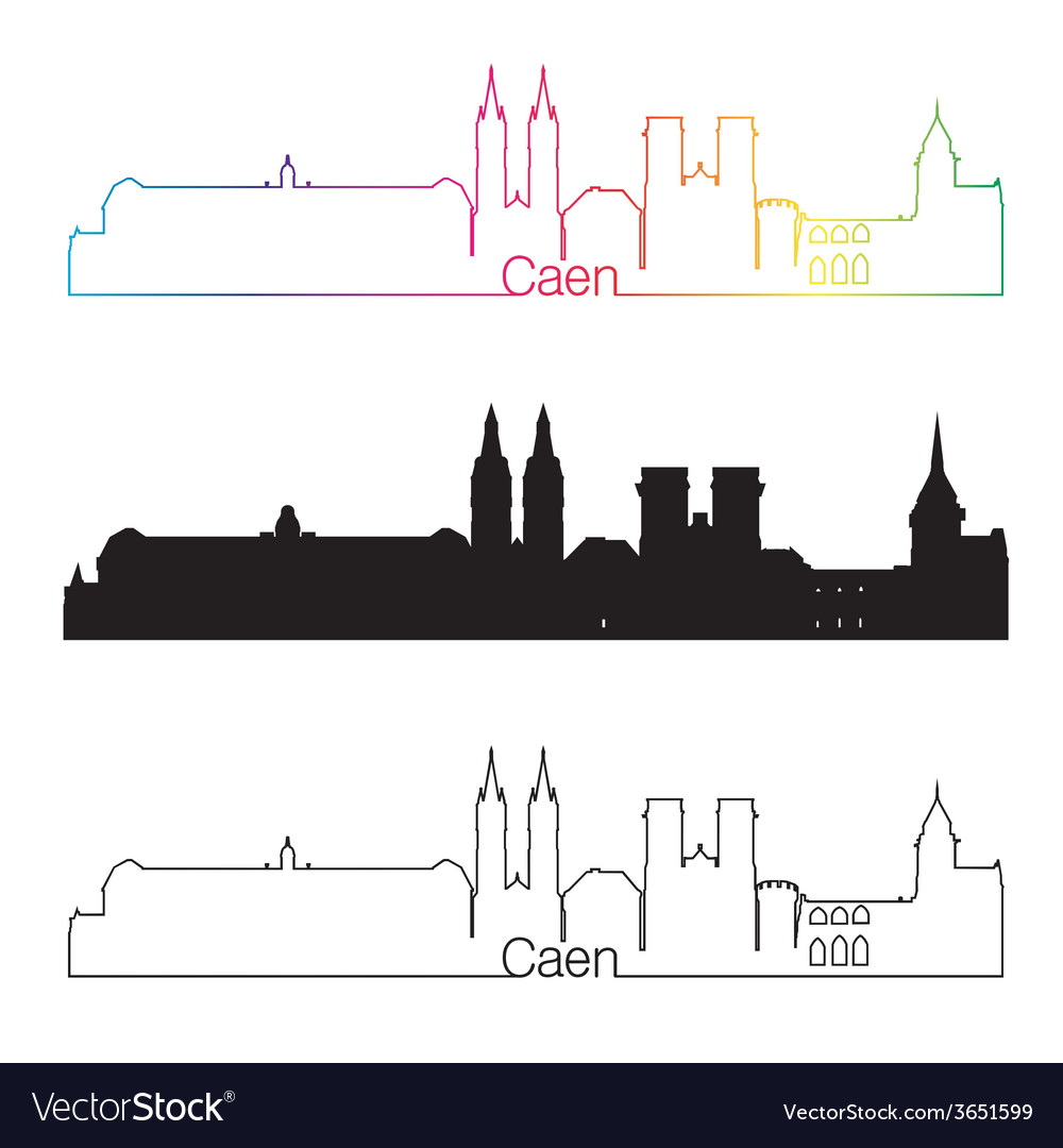 Caen skyline linear style with rainbow vector | Price: 1 Credit (USD $1)