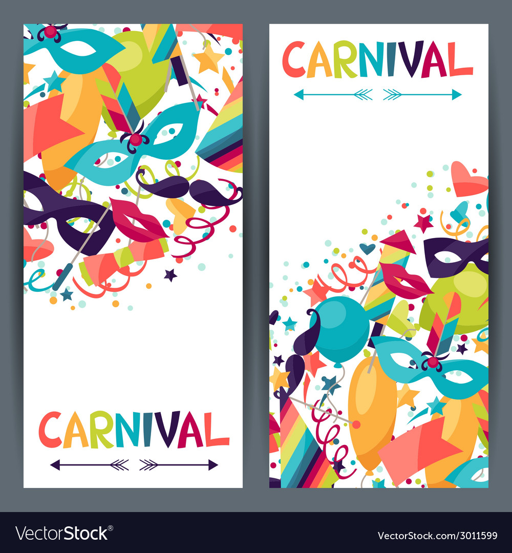 Celebration vertical banners with carnival icons vector | Price: 1 Credit (USD $1)