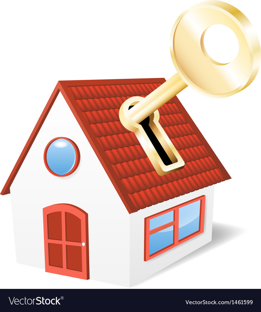 House with a golden key vector | Price: 1 Credit (USD $1)