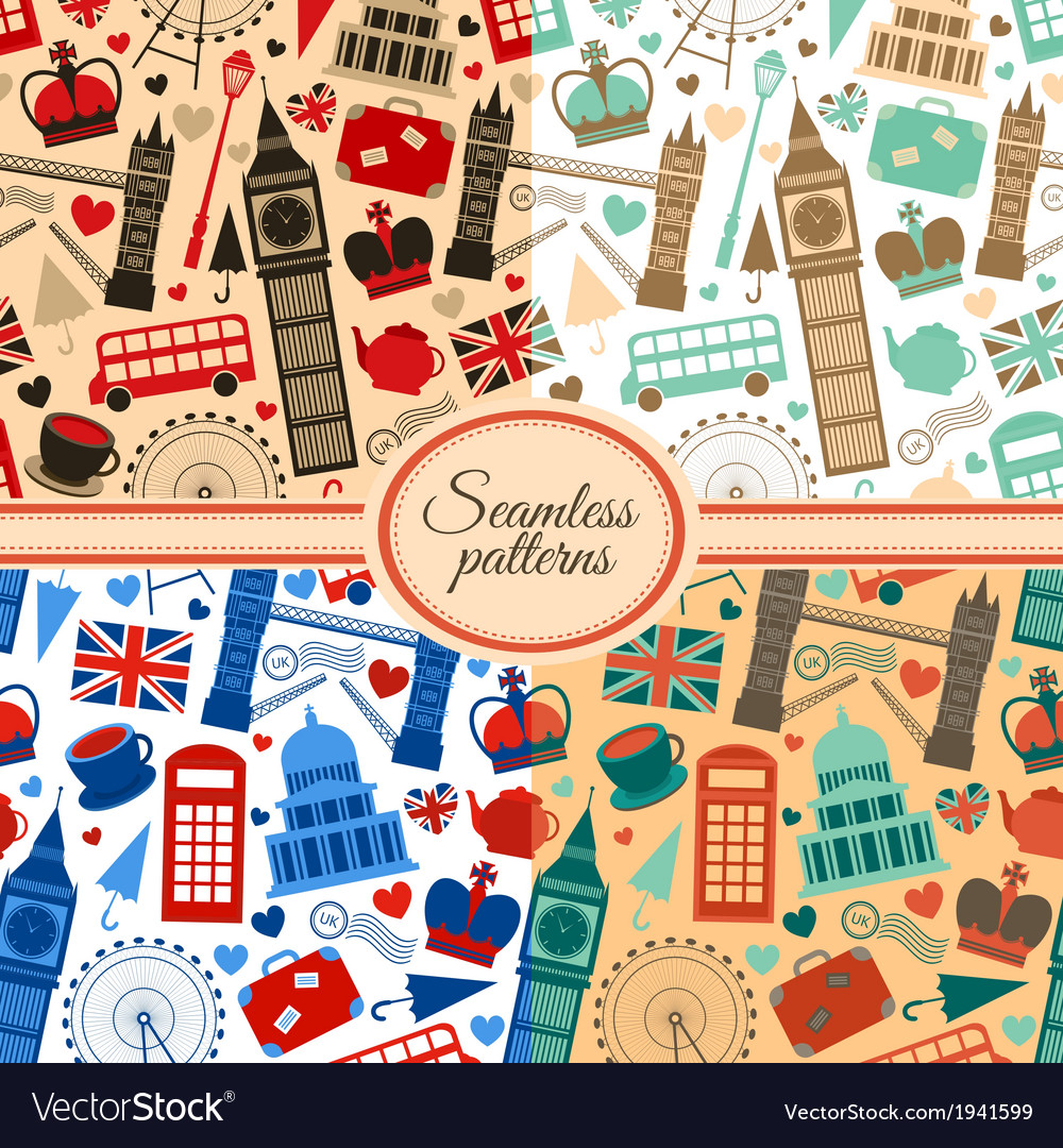 London seamless pattern set vector | Price: 1 Credit (USD $1)