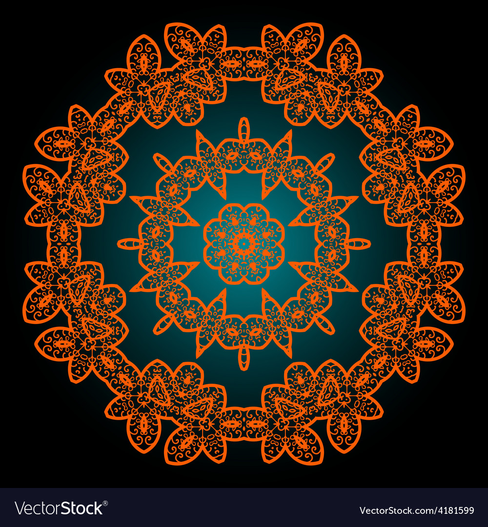 Mandala in outlines of ornage color vintage vector | Price: 1 Credit (USD $1)