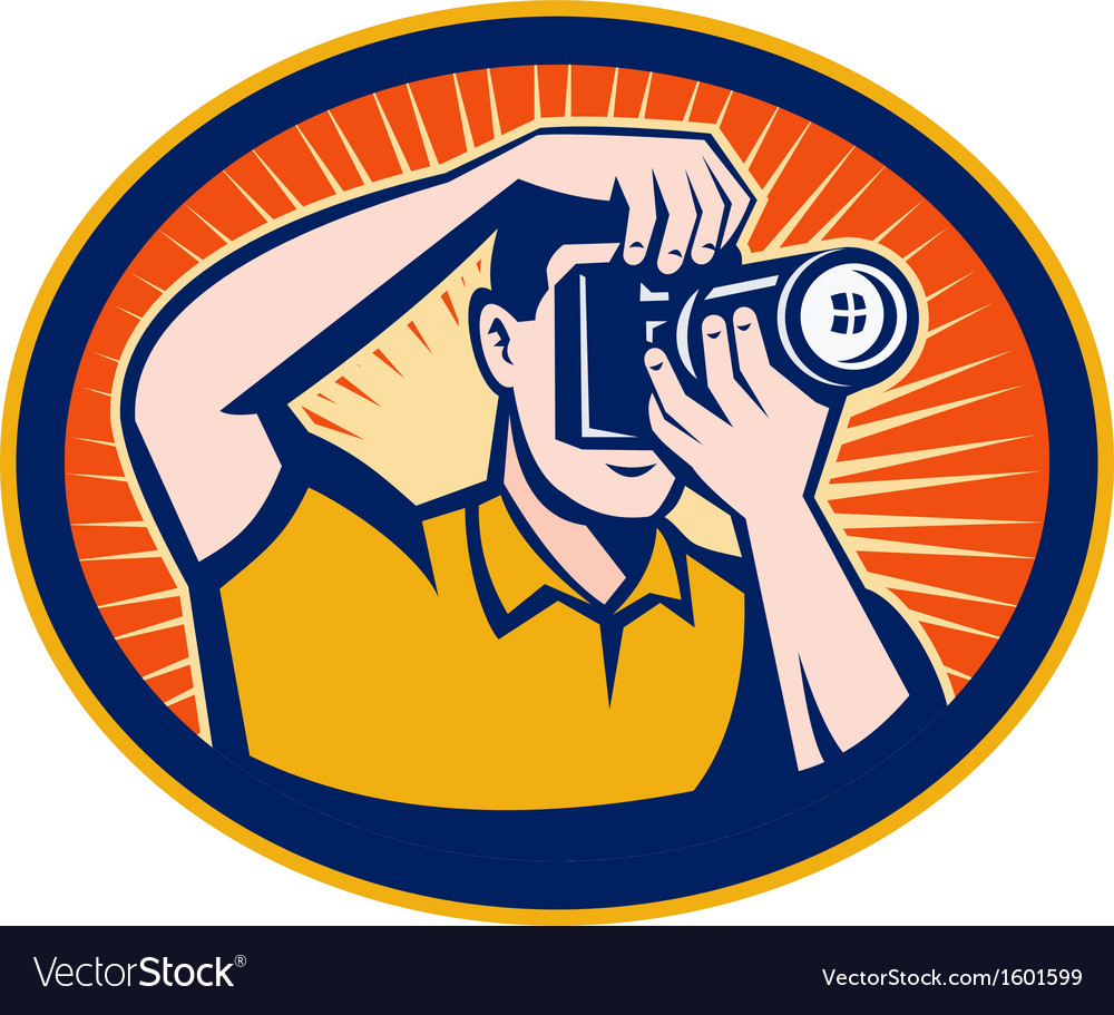 Photographer with dslr digital camera vector | Price: 1 Credit (USD $1)