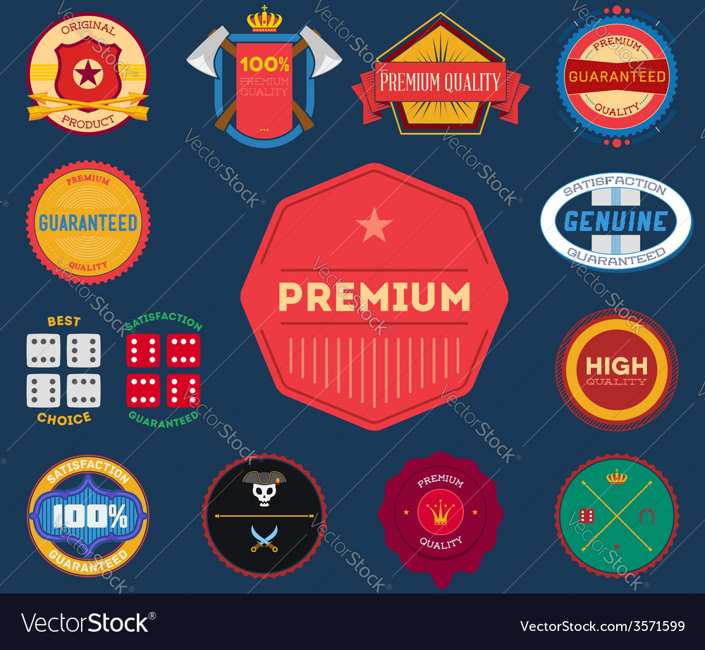 Set of flat colored vintage labels vector | Price: 1 Credit (USD $1)