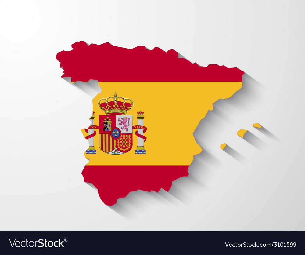Spain map with shadow effect vector | Price: 1 Credit (USD $1)