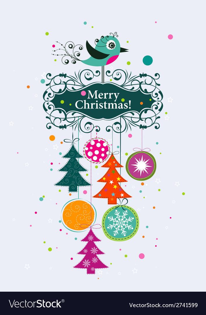 Template christmas greeting card ribbon vector | Price: 1 Credit (USD $1)