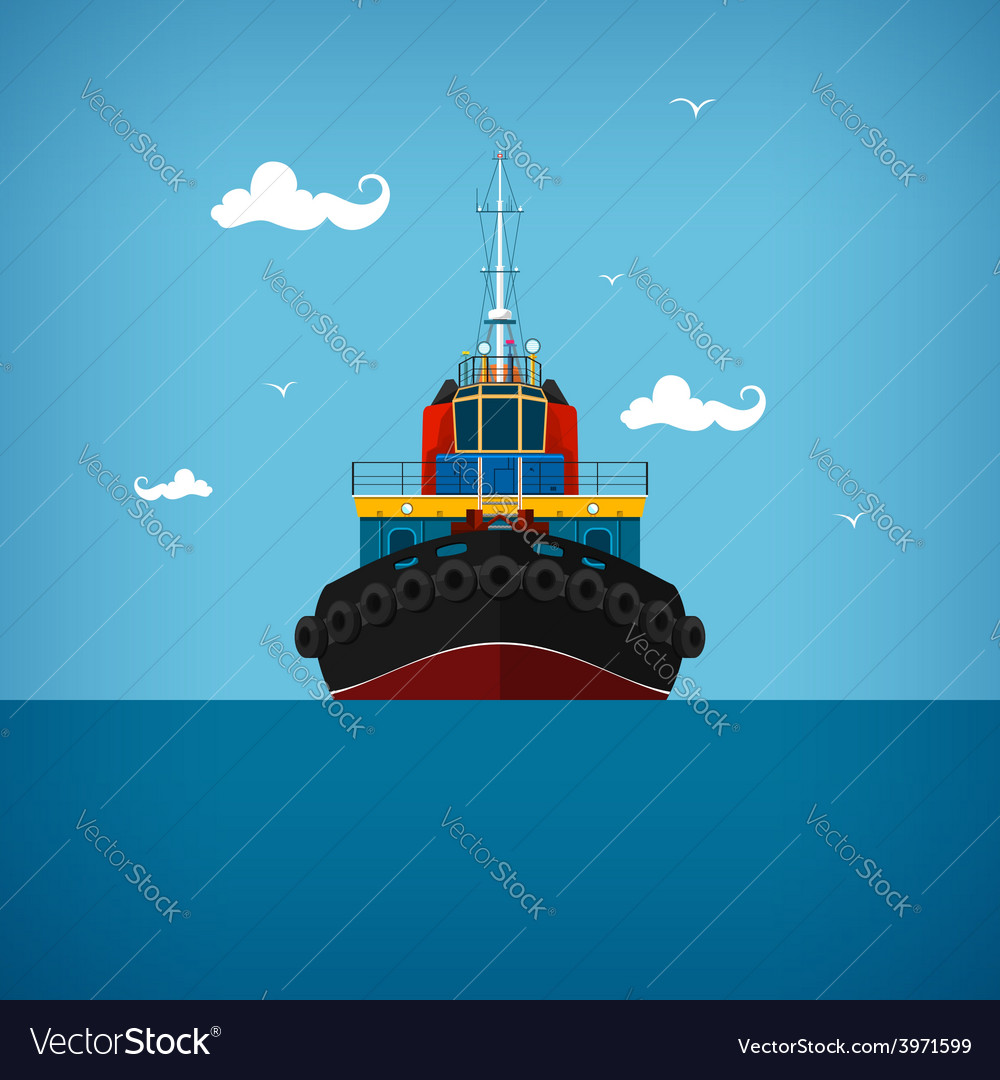 Tugboat for towage and mooring of other courts vector | Price: 1 Credit (USD $1)