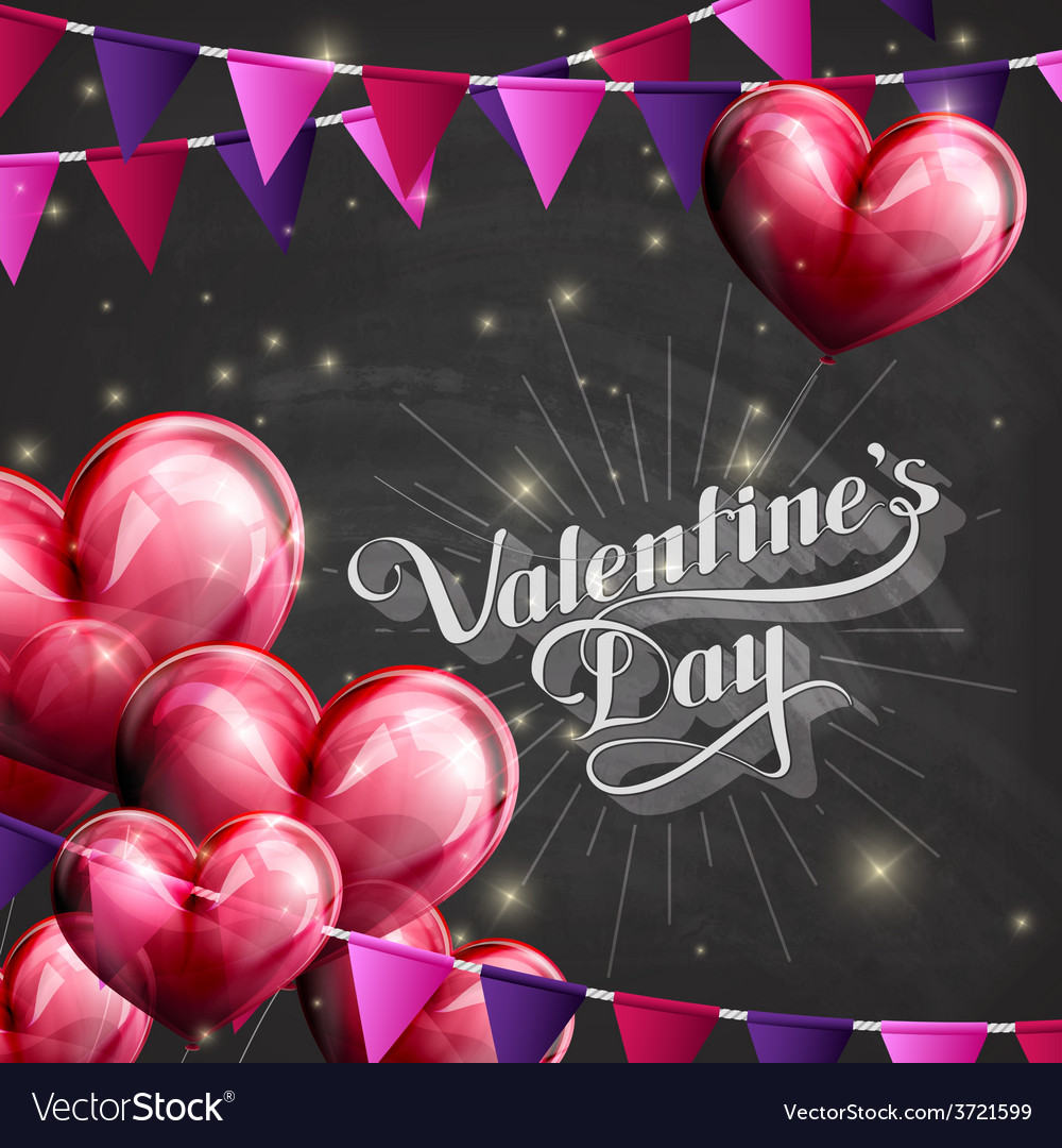 Valentines day retro label on the blackboard vector | Price: 1 Credit (USD $1)