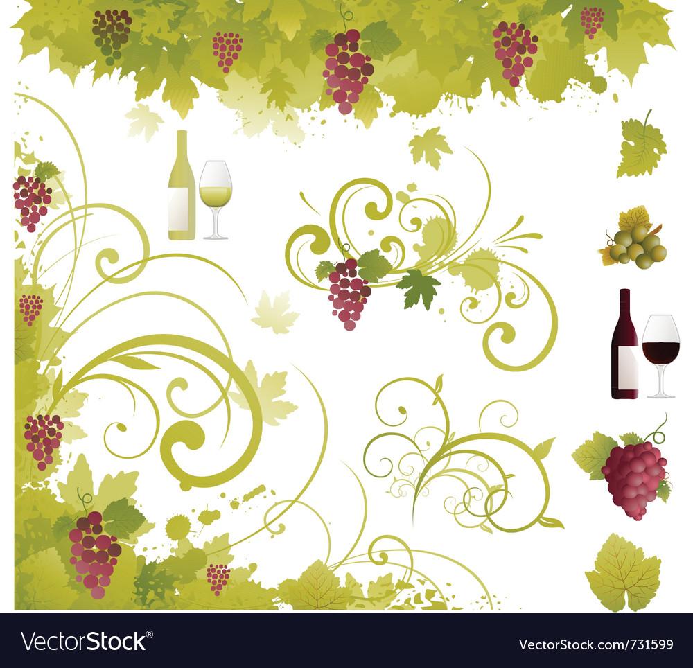 Wine decorative elements vector | Price: 1 Credit (USD $1)
