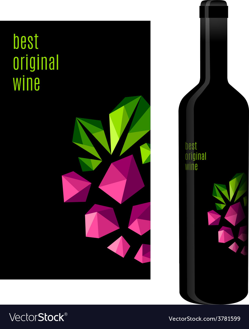 Wine label with bunch of grapes vector | Price: 1 Credit (USD $1)